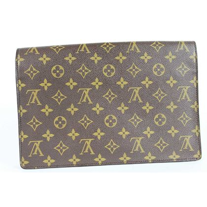 Louis Vuitton Renalagh Bag Briefcase Monogram Canvas Leather Vintage Brown Beige