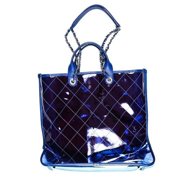 543dd8346f3500 Chanel 2018 Coco Splash Large Pvc Shopping Tote Bag Blue Clear ...