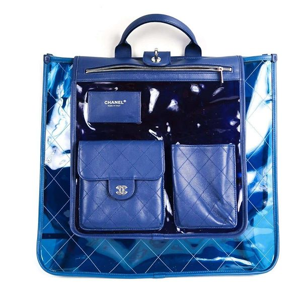 57f8e4d3489c Chanel 2018 Coco Splash Large Pvc Shopping Tote Bag Blue Clear ...