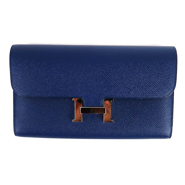 hermes-constance-wallet-blue-leather-eletrique-long-epsom-verso-h-pre-owned-used