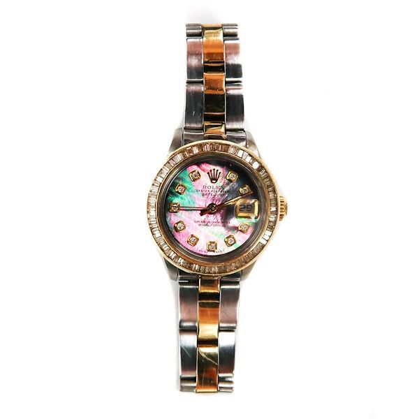 rolex-womens-diamond-pink-mop-watch-oyster-perpetual-datejust-gold-silver-pearl-pre-owned-used