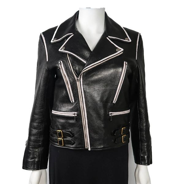 cc186d915d32 Gucci Black Leather Motorcycle Jacket Women'S White Trim Zip Up It ...