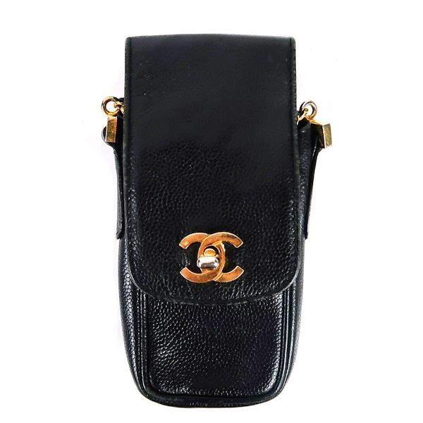 chanel-phone-caviar-crossbody-shoulder-bag-black-leather-case-gold-cc-turnlock-pre-owned-used
