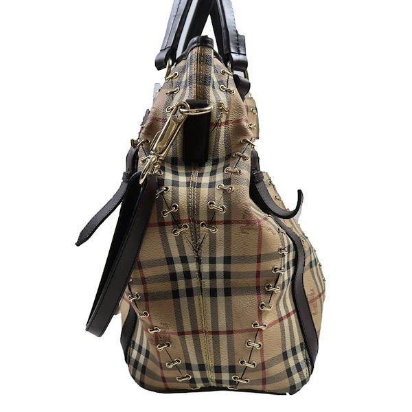 burberry-xl-lowry-plaid-haymarket-tan-leather-metal-stitch-tote-shoulder-bag-pre-owned-used