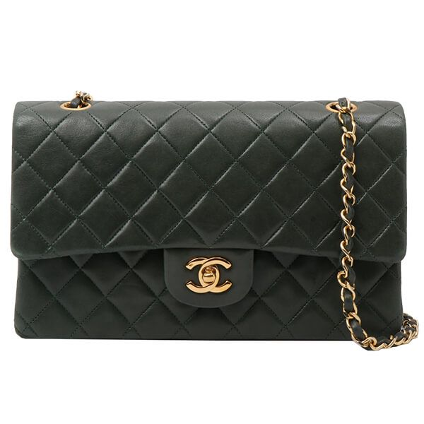 chanel-classic-flap-chain-bag-25cm-forest-green