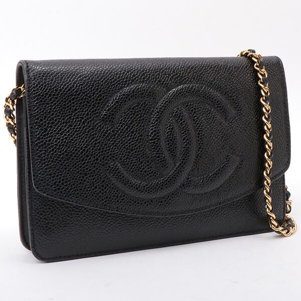 chanel-caviar-skin-cc-mark-stitch-wallet-on-chain-black