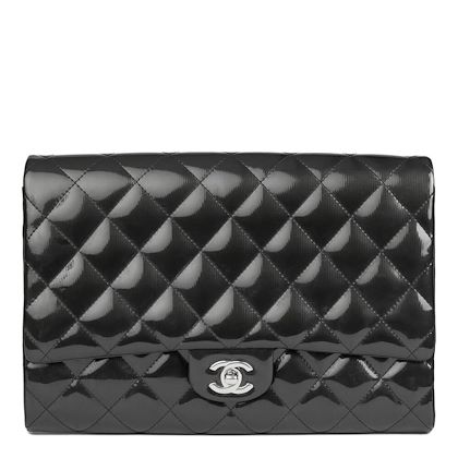 black-quilted-patent-leather-clutch-on-chain