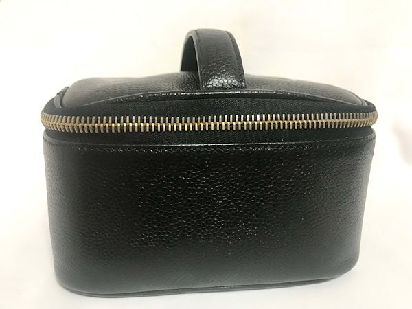 7031249e9c97 Vintage CHANEL black caviar leather cosmetic and toiletry pouch with ...