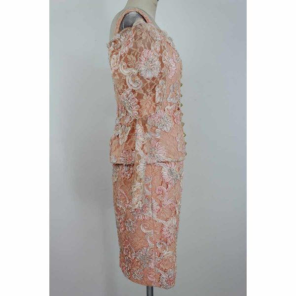 lanvin-vintage-dress-set-skirt-lace-satin-floral-pink