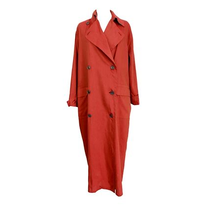 gianfranco-ferre-long-coat-vintage-silk-linen-raincoat-red