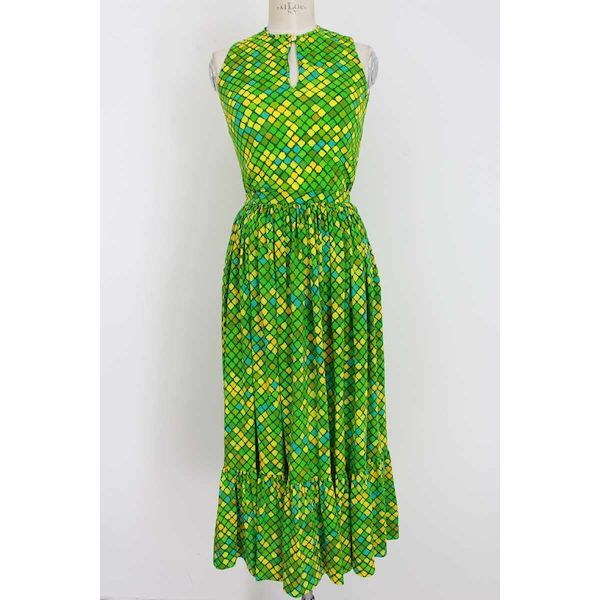 ken-scott-skirt-suit-long-dress-floral-vintage-top-cotton-green
