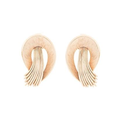 1980s Vintage Trifari Curving Feather Clip-On Earrings