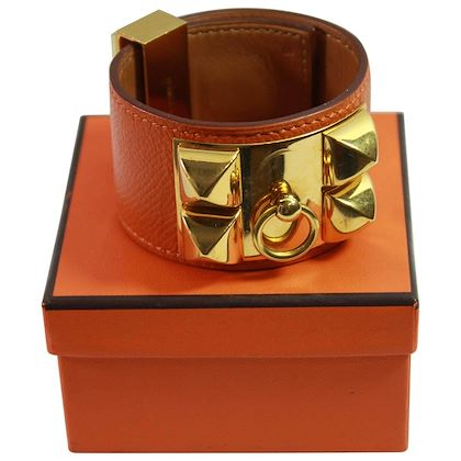 hermes-bracelet-collier-de-chien-medor-in-grained-orange-leather-and-golden-hw-2
