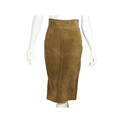 tan-vintage-alaia-suede-knee-length-skirt