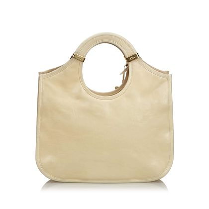 cream-christian-dior-leather-handbag
