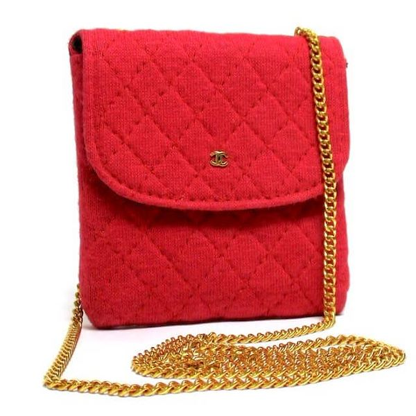 b9855b2c2d51 Reserved for Phoebe. Vintage Chanel red jersey mini pouch, coin ...