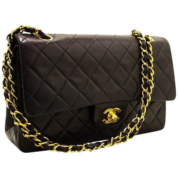 fa284ad9b4 ... Black Quilted Lamb. chanel-255-double-flap-10-chain-shoulder-bag-