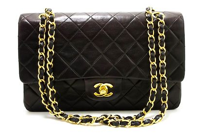 chanel-255-double-flap-10-chain-shoulder-bag-black-quilted-lamb-26