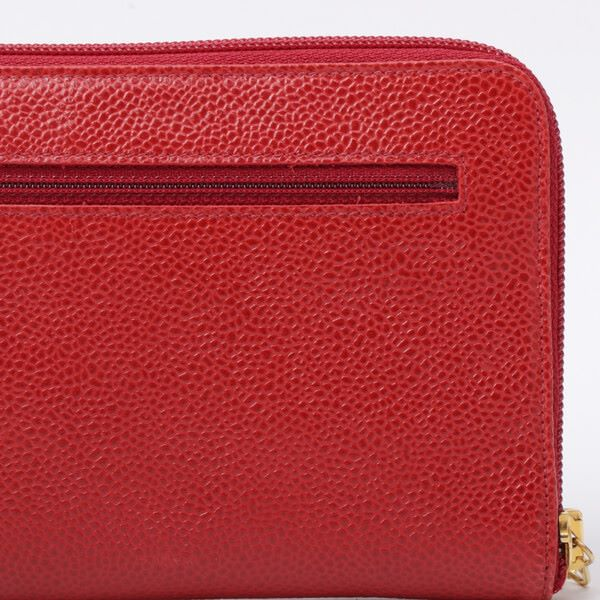 75d0fe7614f9f6 Chanel Caviar Skin CC Mark Stitch Zipper Long Wallet Red