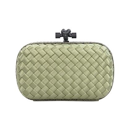 light-green-bottega-veneta-intrecciato-silk-clutch