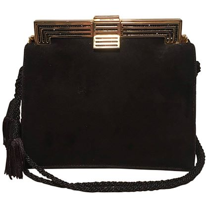 judith-leiber-black-suede-evening-bag-clutch-with-silk-tassel