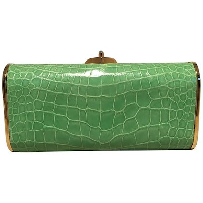judith-leiber-vintage-mini-green-alligator-clutch-minaudiere