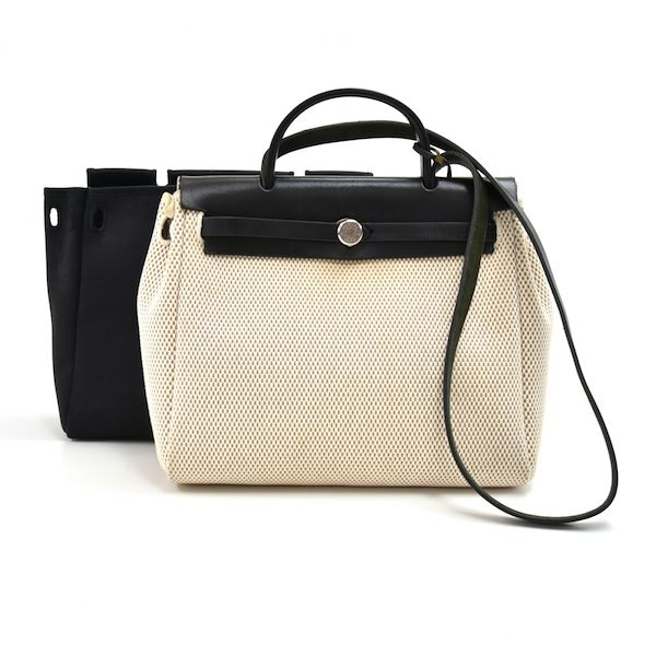 cd127be5682 Hermes Herbag Zip PM 2 in 1 Beige x Black Canvas & Black Leather ...