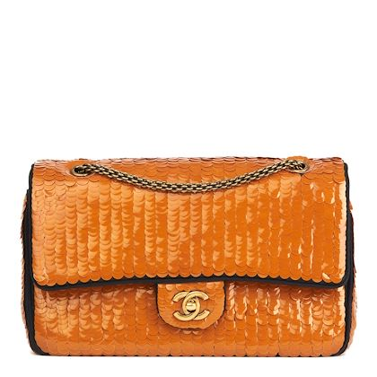 black-satin-orange-sequin-embellished-paris-shanghai-medium-classic-double-flap-bag