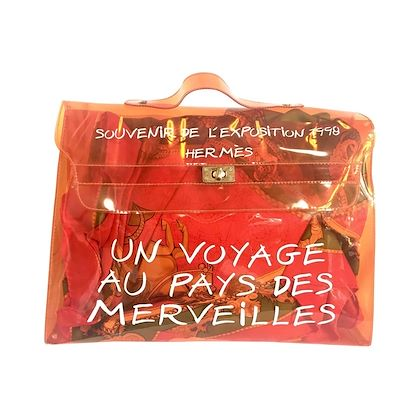 1990s-vintage-hermes-a-rare-transparent-orange-vinyl-kelly-bag-japan-limited-edit-rare-and-collectible-bag-from-90s-hermes-exhibition
