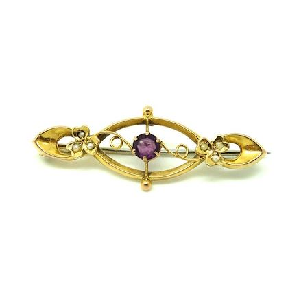 antique-edwardian-seed-pearl-amethyst-9ct-gold-brooch