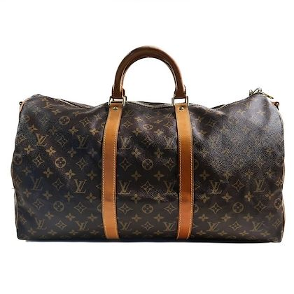 louis-vuitton-brown-canvas-leather-monogrammed-40-cm-vintage-zip-up-duffle-bag-pre-owned-used
