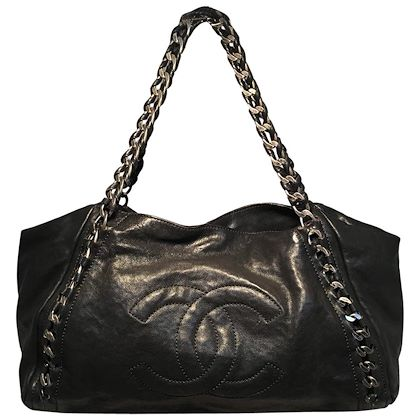 chanel-black-leather-and-chain-shoulder-bag-tote