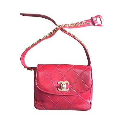 vintage-chanel-red-leather-255-waist-purse-fanny-pack-hip-bag-with-gold-cc-closure-and-chain-belt-belt-28-3371cm77cm