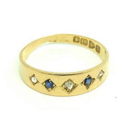 antique-victorian-1900-diamond-sapphire-18ct-yellow-gold-ring