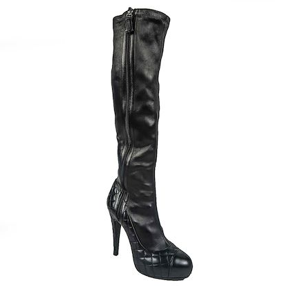 chanel-tall-boots-black-quilted-leather-heels-cc-logo-cap-toe-7-37-pre-owned-used