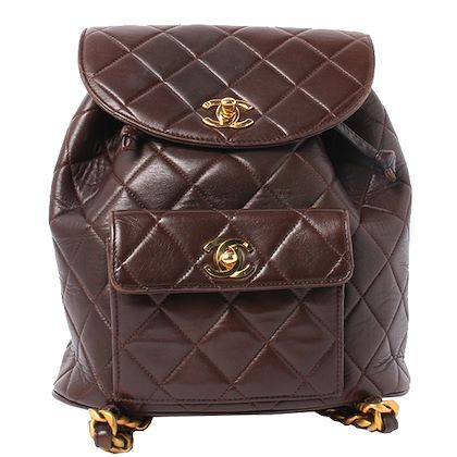 chanel-double-turn-lock-backpack-brown