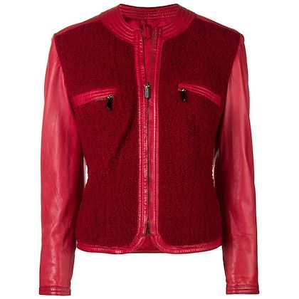 1990s GIANNI VERSACE panelled leather collarless jacket