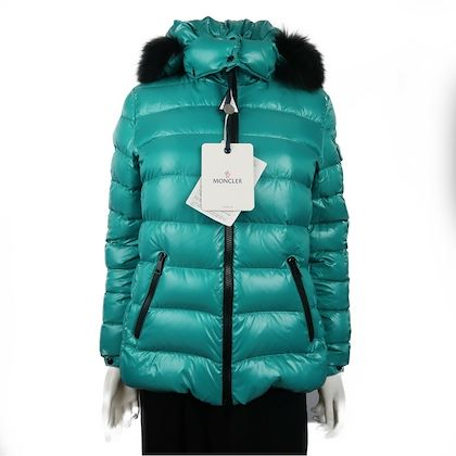 moncler-womens-down-puffer-hooded-coat-medium-size-2-teal-pre-owned-used