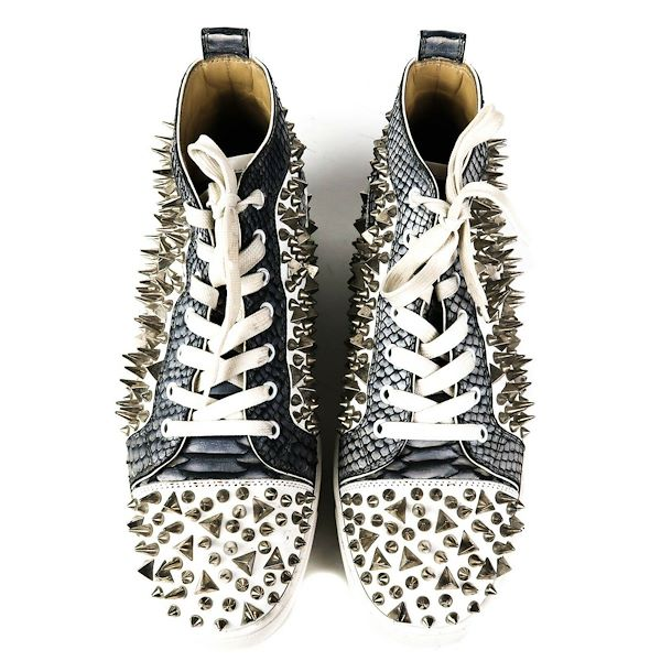 christian-louboutin-white-python-leather-studded-hightop-sneakers-43-10-pre-owned-used