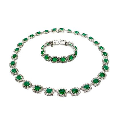 vintage-christian-dior-necklace-and-bracelet-with-faux-emerald-and-diamonds-1960s