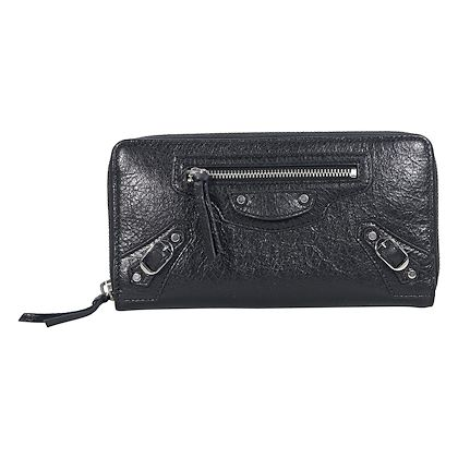black-balenciaga-classic-moto-leather-wallet