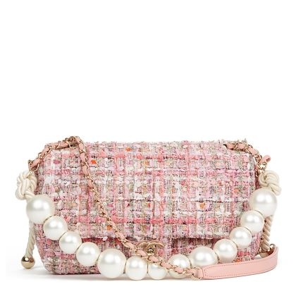pink-tweed-fabric-pearls-classic-single-flap-bag