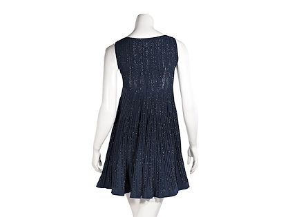 metallic-blue-alaia-knit-babydoll-dress