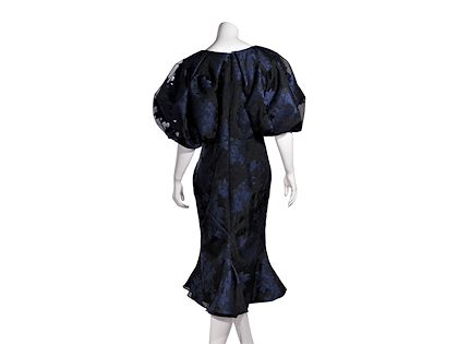 black-blue-zac-posen-floral-trumpet-hem-dress