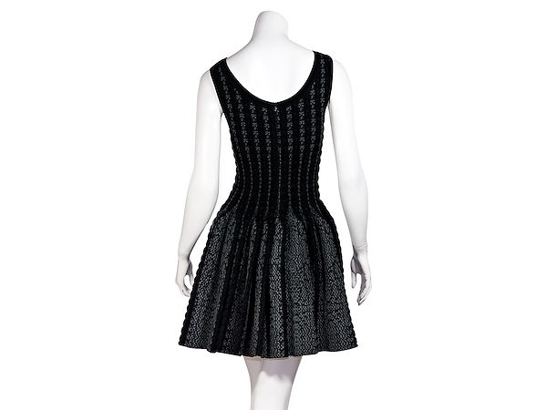 black-grey-alaia-woven-fit-and-flare-dress