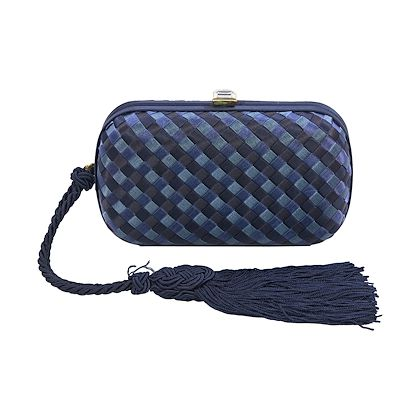 blue-bottega-veneta-intrecciato-satin-tassel-clutch