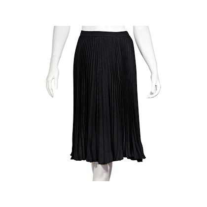 black-saint-laurent-pleated-silk-skirt