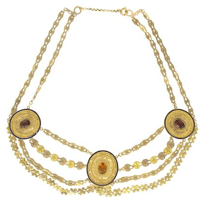1850s-french-antique-enamel-gold-necklace