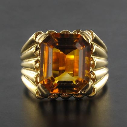french-1960s-citrine-yellow-gold-ring