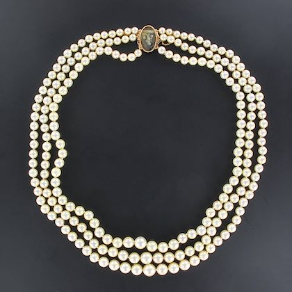 french-three-strand-japanese-cultured-round-white-pearl-necklace